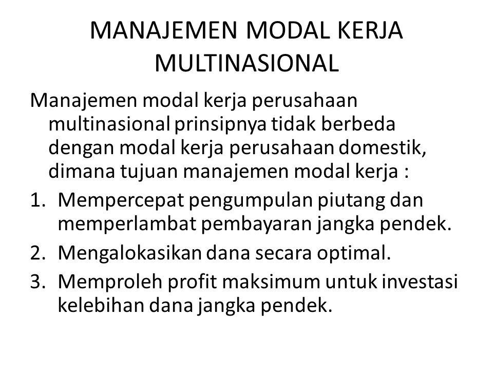 MANAJEMEN MODAL KERJA MULTINASIONAL Manajemen modal kerja perusahaan multinasional prinsipnya tidak berbeda dengan modal kerja perusahaan domestik, di