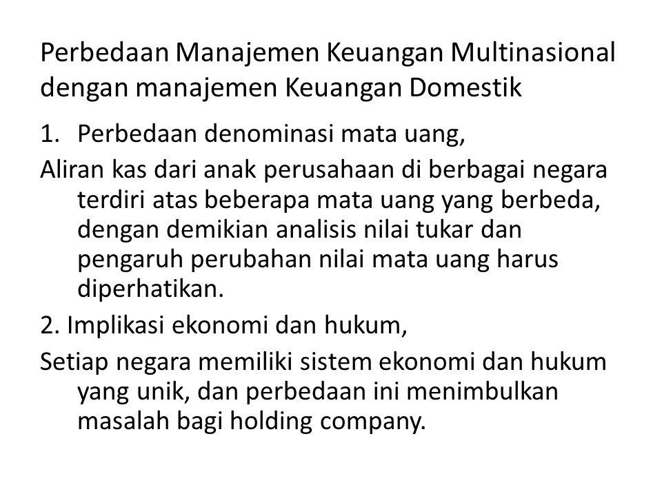Perbedaan Manajemen Keuangan Multinasional dengan manajemen Keuangan Domestik 1.Perbedaan denominasi mata uang, Aliran kas dari anak perusahaan di ber