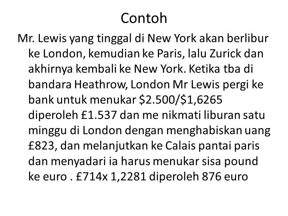 Contoh Mr. Lewis yang tinggal di New York akan berlibur ke London, kemudian ke Paris, lalu Zurick dan akhirnya kembali ke New York. Ketika tba di band