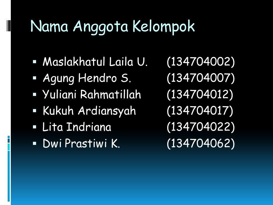 Nama Anggota Kelompok  Maslakhatul Laila U.(134704002)  Agung Hendro S.(134704007)  Yuliani Rahmatillah(134704012)  Kukuh Ardiansyah(134704017) 