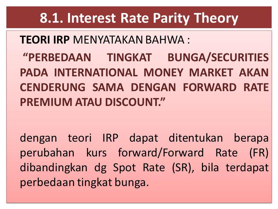 """8.1. Interest Rate Parity Theory TEORI IRP MENYATAKAN BAHWA : """"PERBEDAAN TINGKAT BUNGA/SECURITIES PADA INTERNATIONAL MONEY MARKET AKAN CENDERUNG SAMA"""
