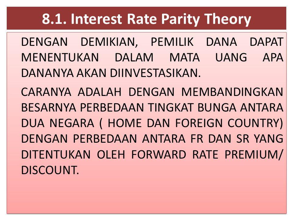 8.1. Interest Rate Parity Theory DENGAN DEMIKIAN, PEMILIK DANA DAPAT MENENTUKAN DALAM MATA UANG APA DANANYA AKAN DIINVESTASIKAN. CARANYA ADALAH DENGAN