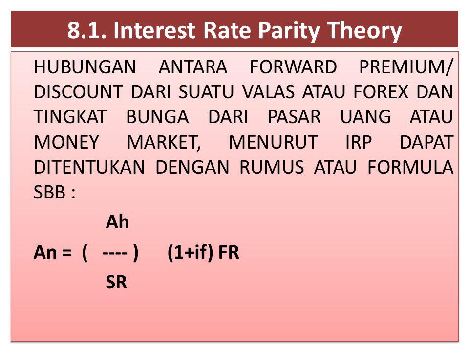 8.1. Interest Rate Parity Theory HUBUNGAN ANTARA FORWARD PREMIUM/ DISCOUNT DARI SUATU VALAS ATAU FOREX DAN TINGKAT BUNGA DARI PASAR UANG ATAU MONEY MA