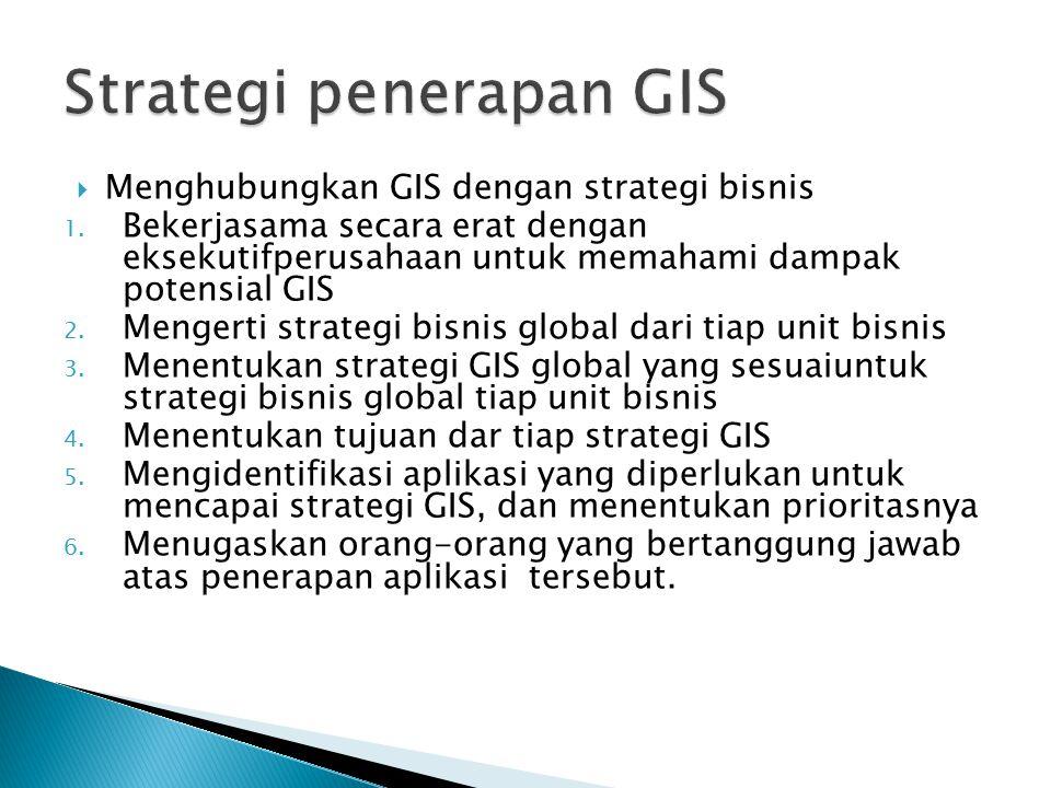  Menghubungkan GIS dengan strategi bisnis 1. Bekerjasama secara erat dengan eksekutifperusahaan untuk memahami dampak potensial GIS 2. Mengerti strat
