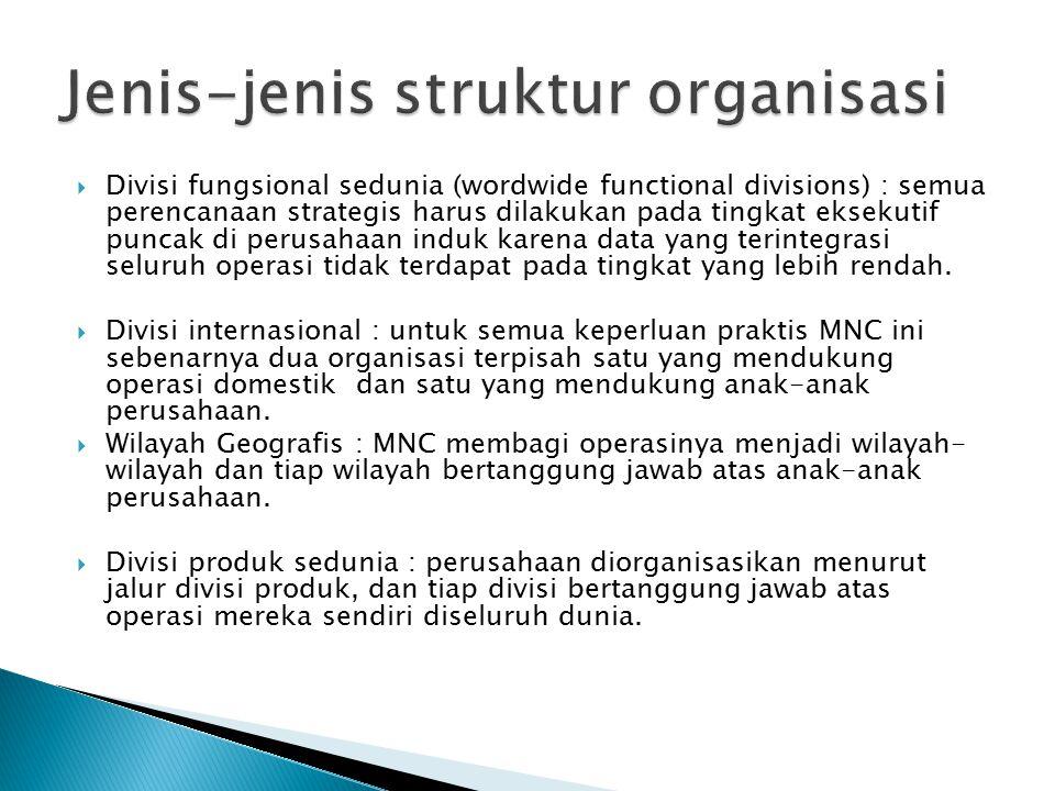  Divisi fungsional sedunia (wordwide functional divisions) : semua perencanaan strategis harus dilakukan pada tingkat eksekutif puncak di perusahaan