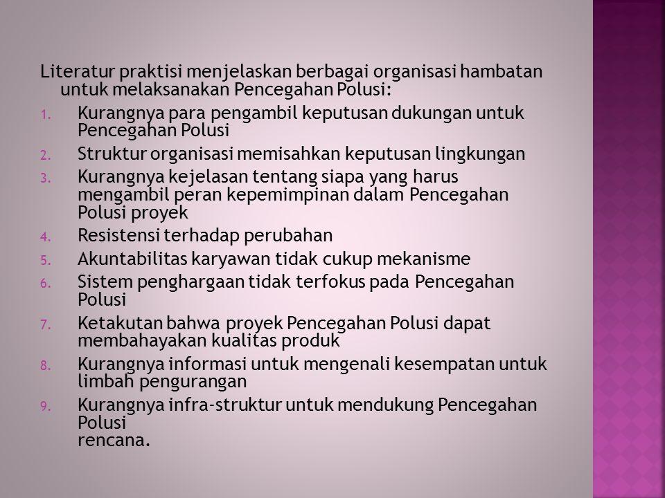 Literatur praktisi menjelaskan berbagai organisasi hambatan untuk melaksanakan Pencegahan Polusi: 1.