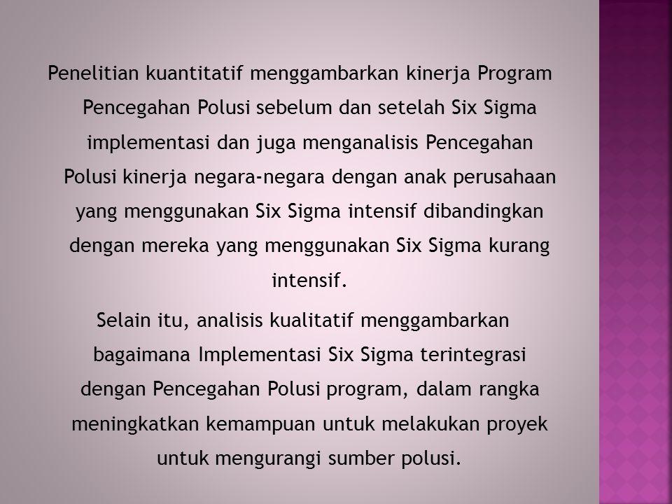 Penelitian kuantitatif menggambarkan kinerja Program Pencegahan Polusi sebelum dan setelah Six Sigma implementasi dan juga menganalisis Pencegahan Polusi kinerja negara-negara dengan anak perusahaan yang menggunakan Six Sigma intensif dibandingkan dengan mereka yang menggunakan Six Sigma kurang intensif.
