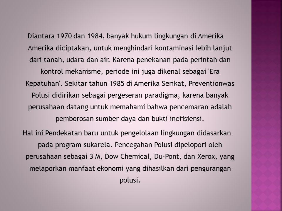 Diantara 1970 dan 1984, banyak hukum lingkungan di Amerika Amerika diciptakan, untuk menghindari kontaminasi lebih lanjut dari tanah, udara dan air.
