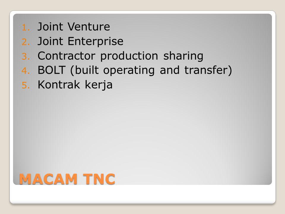 MACAM TNC 1. Joint Venture 2. Joint Enterprise 3. Contractor production sharing 4. BOLT (built operating and transfer) 5. Kontrak kerja