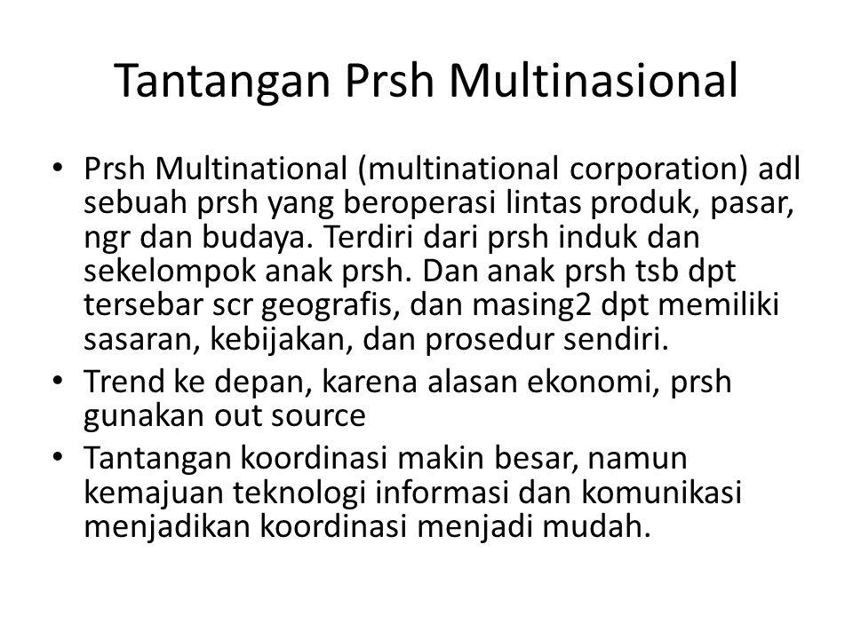 Tantangan Prsh Multinasional Prsh Multinational (multinational corporation) adl sebuah prsh yang beroperasi lintas produk, pasar, ngr dan budaya. Terd
