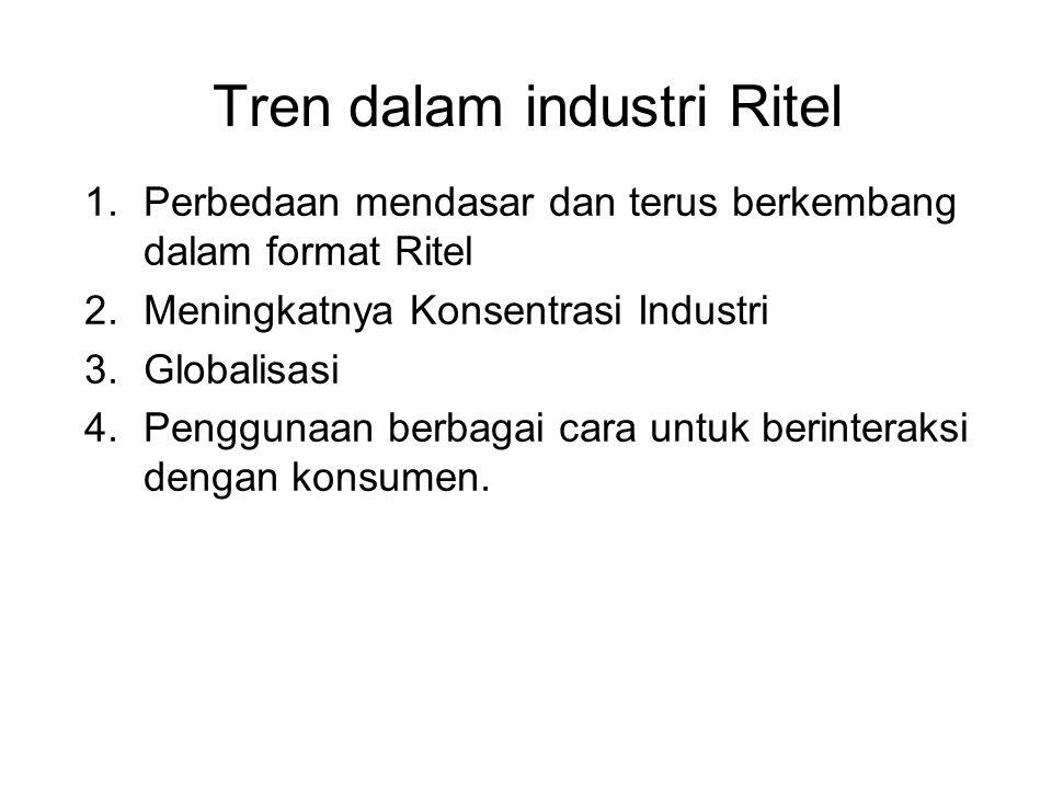 Tren dalam industri Ritel 1.Perbedaan mendasar dan terus berkembang dalam format Ritel 2.Meningkatnya Konsentrasi Industri 3.Globalisasi 4.Penggunaan berbagai cara untuk berinteraksi dengan konsumen.
