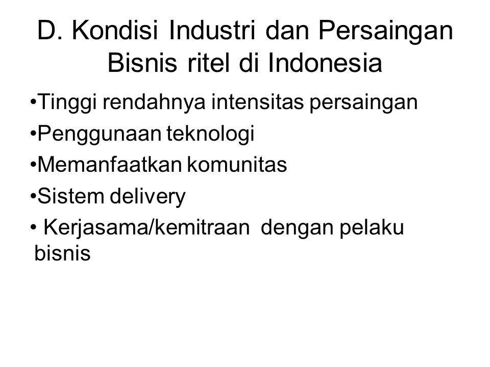 D. Kondisi Industri dan Persaingan Bisnis ritel di Indonesia Tinggi rendahnya intensitas persaingan Penggunaan teknologi Memanfaatkan komunitas Sistem