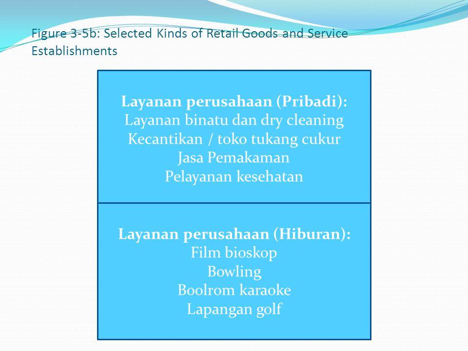 Figure 3-5b: Selected Kinds of Retail Goods and Service Establishments Layanan perusahaan (Pribadi): Layanan binatu dan dry cleaning Kecantikan / toko