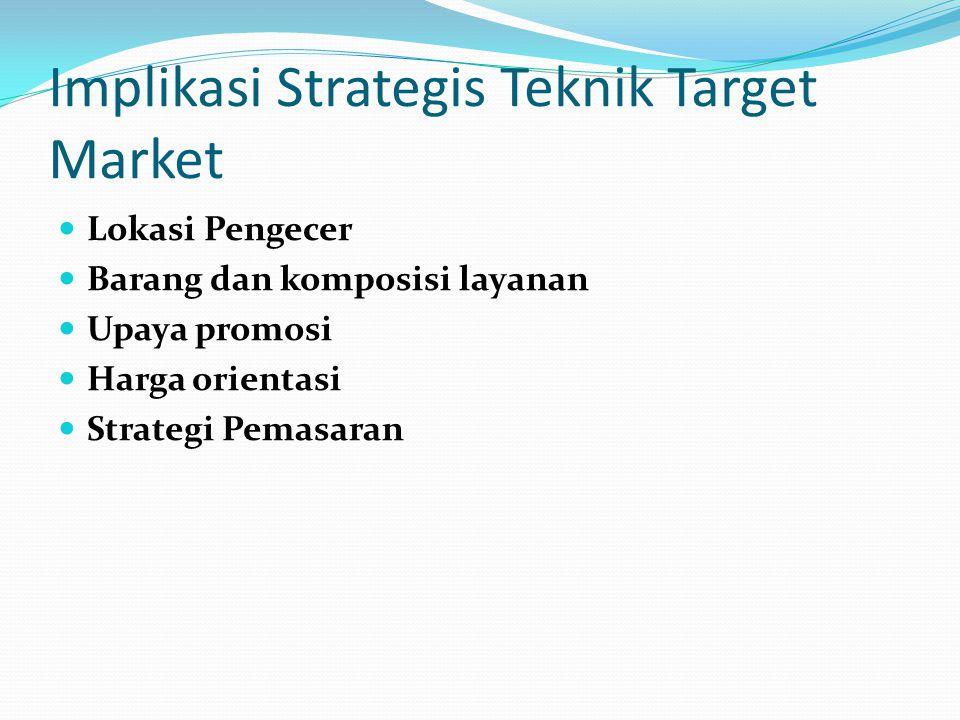 Implikasi Strategis Teknik Target Market Lokasi Pengecer Barang dan komposisi layanan Upaya promosi Harga orientasi Strategi Pemasaran