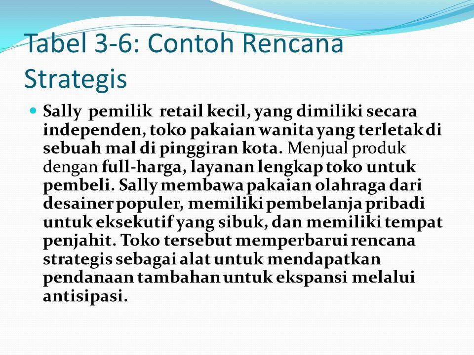 Tabel 3-6: Contoh Rencana Strategis Sally pemilik retail kecil, yang dimiliki secara independen, toko pakaian wanita yang terletak di sebuah mal di pi