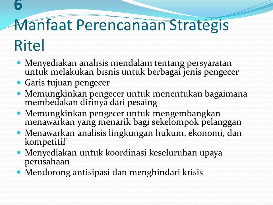 6 Manfaat Perencanaan Strategis Ritel Menyediakan analisis mendalam tentang persyaratan untuk melakukan bisnis untuk berbagai jenis pengecer Garis tuj