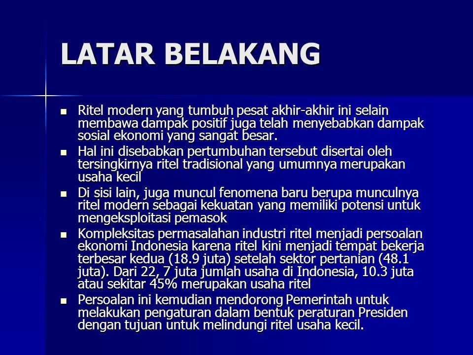 Permasalahan Industri Ritel Indonesia Barang Substitusi Barang Substitusi –Pasar ritel memiliki barang substitusi tergantung dari jenis produknya: a.Fashion : Distro, Butik b.Consumer good : Warung c.Other things : E-bay, toko kelontong