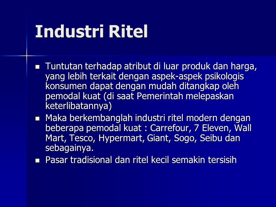Pasar Tradisional/Ritel Kecil VS Ritel Modern Pasar tradisional terbagi atas dua jenis, yaitu pasar tradisional yang menjual bahan sandang dan pangan dan pasar tradisional yang hanya menjual sandang.