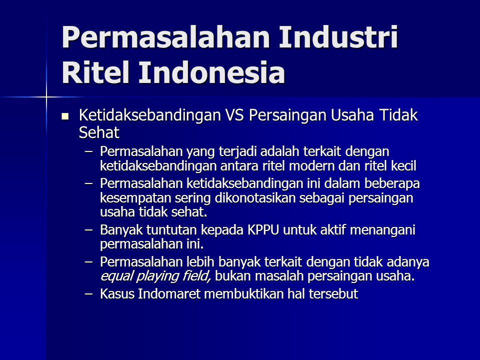 Permasalahan Industri Ritel Indonesia Peritel VS Pemasok Peritel VS Pemasok –Pertumbuhan pemasok ritel pada tahun 2009 akan tumbuh 10%-15%, akibat krisis global, sebab pemasok mengurangi pasokan ke luar negeri.