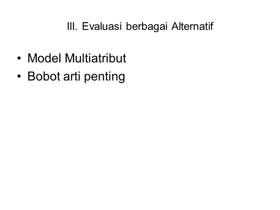 III. Evaluasi berbagai Alternatif Model Multiatribut Bobot arti penting