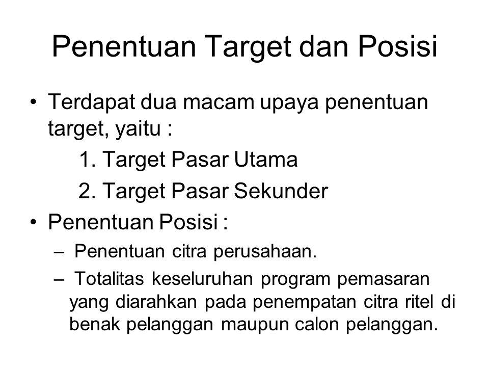 Penentuan Target dan Posisi Terdapat dua macam upaya penentuan target, yaitu : 1. Target Pasar Utama 2. Target Pasar Sekunder Penentuan Posisi : – Pen