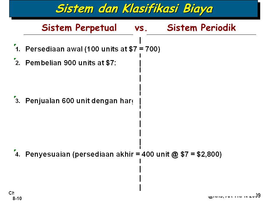 Chapter 8-10 @Kris, AA YKPN 2009 Sistem PerpetualSistem Periodikvs. Sistem dan Klasifikasi Biaya