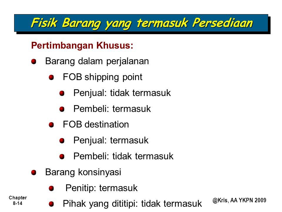 Chapter 8-14 @Kris, AA YKPN 2009 Pertimbangan Khusus: Barang dalam perjalanan FOB shipping point Penjual: tidak termasuk Pembeli: termasuk FOB destina