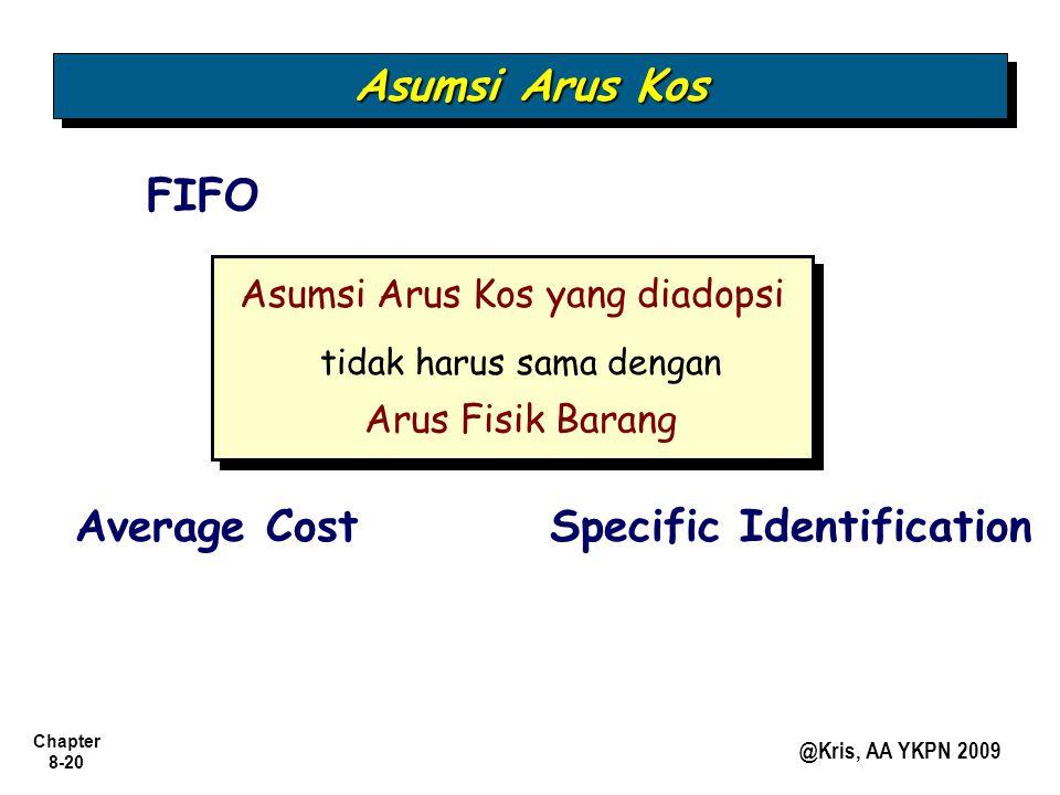 Chapter 8-20 @Kris, AA YKPN 2009 Asumsi Arus Kos yang diadopsi Arus Fisik Barang tidak harus sama dengan FIFO Asumsi Arus Kos Average CostSpecific Ide