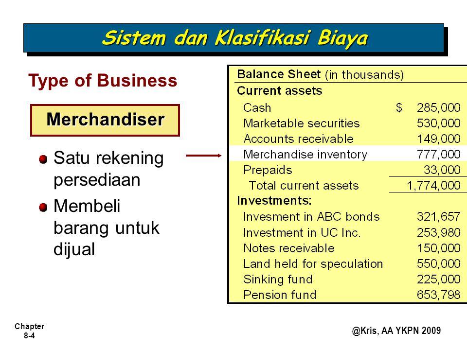 Chapter 8-4 @Kris, AA YKPN 2009 Type of Business Merchandiser Satu rekening persediaan Membeli barang untuk dijual Sistem dan Klasifikasi Biaya