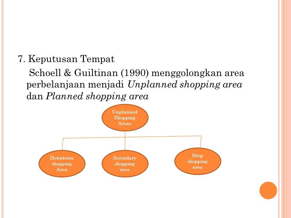 7. Keputusan Tempat Schoell & Guiltinan (1990) menggolongkan area perbelanjaan menjadi Unplanned shopping area dan Planned shopping area Unplanned Sho