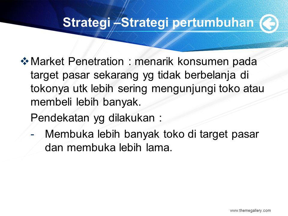 Strategi –Strategi pertumbuhan  Market Penetration : menarik konsumen pada target pasar sekarang yg tidak berbelanja di tokonya utk lebih sering meng