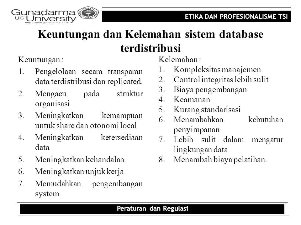 ETIKA DAN PROFESIONALISME TSI Keuntungan dan Kelemahan sistem database terdistribusi Keuntungan : 1.Pengelolaan secara transparan data terdistribusi d