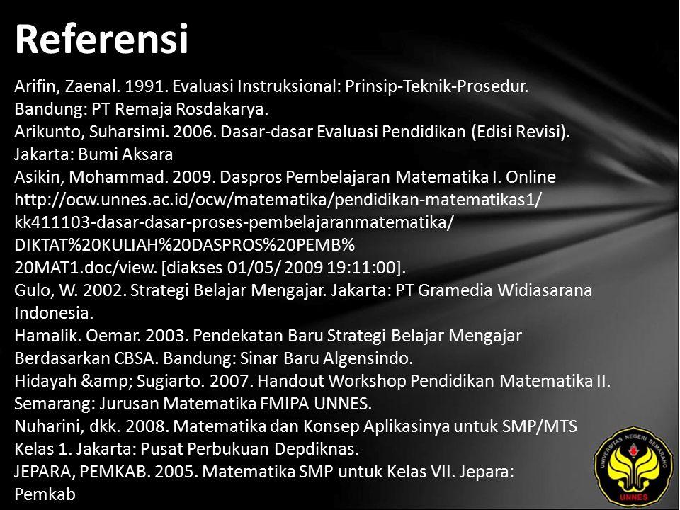 Referensi Arifin, Zaenal. 1991. Evaluasi Instruksional: Prinsip-Teknik-Prosedur. Bandung: PT Remaja Rosdakarya. Arikunto, Suharsimi. 2006. Dasar-dasar