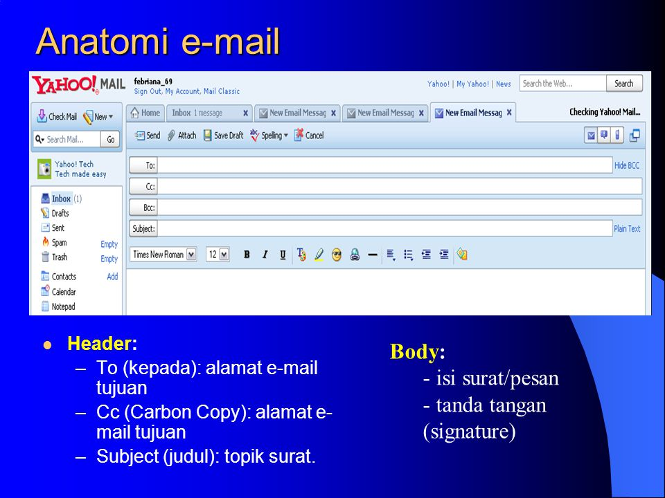 Anatomi e-mail Header: –To (kepada): alamat e-mail tujuan –Cc (Carbon Copy): alamat e- mail tujuan –Subject (judul): topik surat.
