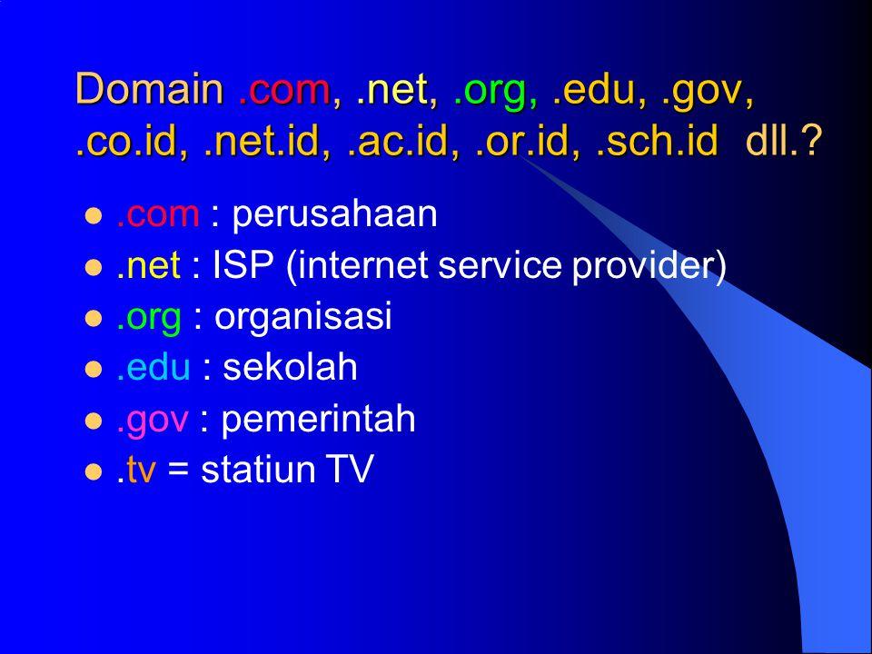 Domain.com,.net,.org,.edu,.gov,.co.id,.net.id,.ac.id,.or.id,.sch.id dll.?.com : perusahaan.net : ISP (internet service provider).org : organisasi.edu : sekolah.gov : pemerintah.tv = statiun TV