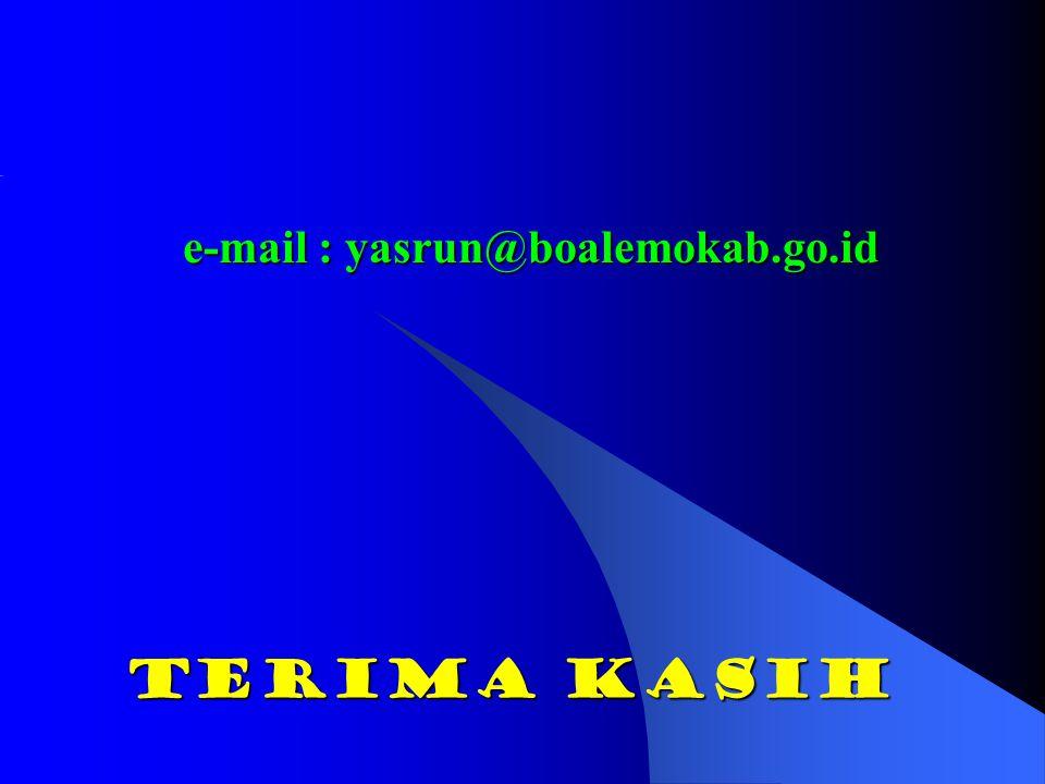 Terima kasih e-mail : yasrun@boalemokab.go.id