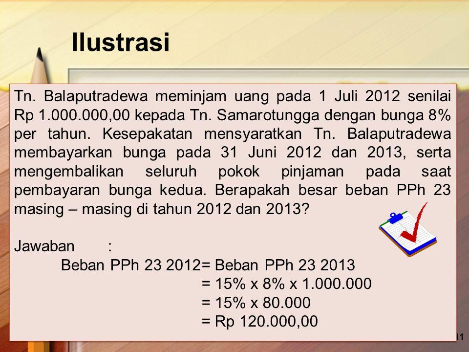 Ilustrasi 11 Tn. Balaputradewa meminjam uang pada 1 Juli 2012 senilai Rp 1.000.000,00 kepada Tn. Samarotungga dengan bunga 8% per tahun. Kesepakatan m
