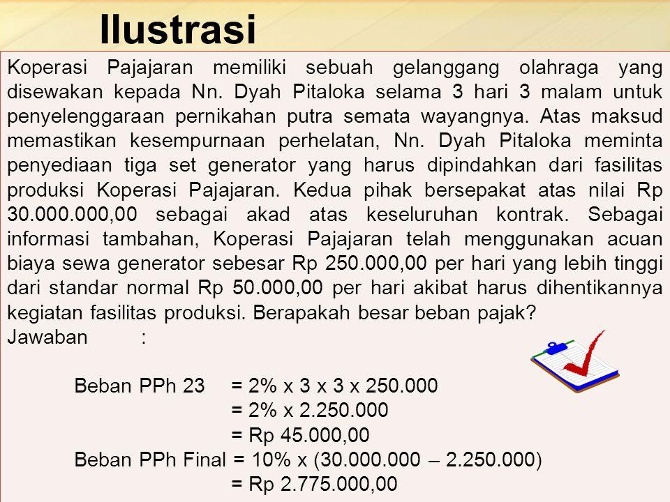 Ilustrasi 18 Koperasi Pajajaran memiliki sebuah gelanggang olahraga yang disewakan kepada Nn. Dyah Pitaloka selama 3 hari 3 malam untuk penyelenggaraa