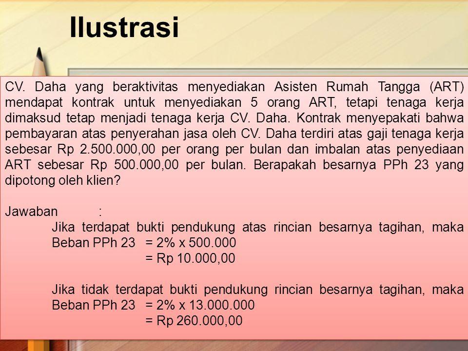 Ilustrasi 26 CV. Daha yang beraktivitas menyediakan Asisten Rumah Tangga (ART) mendapat kontrak untuk menyediakan 5 orang ART, tetapi tenaga kerja dim