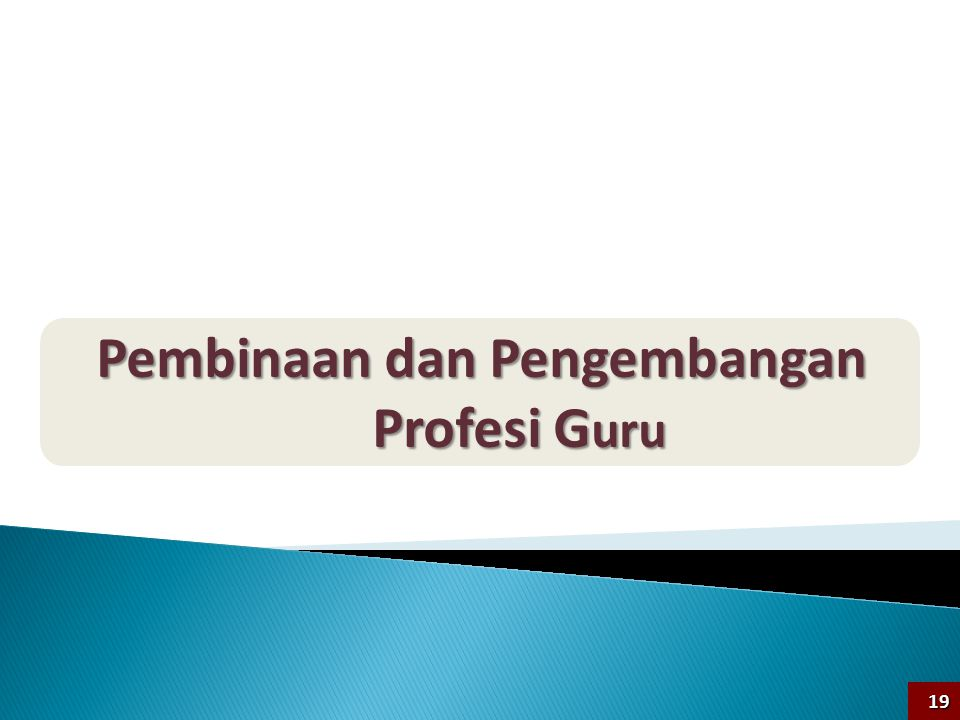 Pembinaan dan Pengembangan Profesi G uru 19