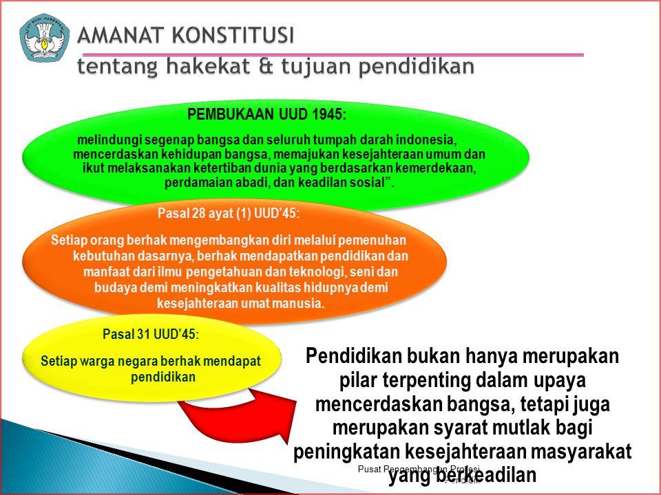 Pusat Pengembangan Profesi Pendidik PEMBUKAAN UUD 1945: melindungi segenap bangsa dan seluruh tumpah darah indonesia, mencerdaskan kehidupan bangsa, memajukan kesejahteraan umum dan ikut melaksanakan ketertiban dunia yang berdasarkan kemerdekaan, perdamaian abadi, dan keadilan sosial .