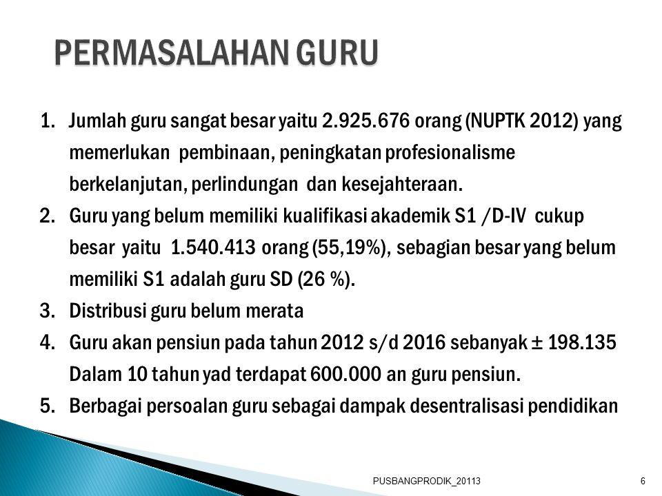 1.Jumlah guru sangat besar yaitu 2.925.676 orang (NUPTK 2012) yang memerlukan pembinaan, peningkatan profesionalisme berkelanjutan, perlindungan dan kesejahteraan.