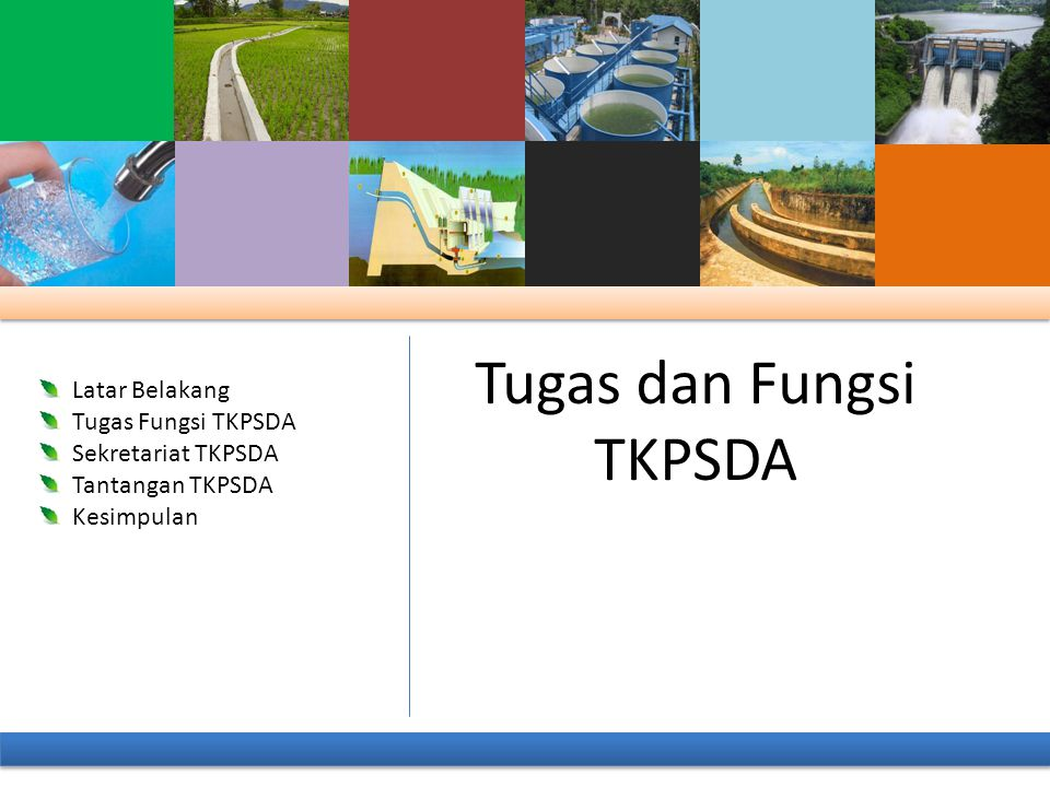 1.Konsultasi dengan pihak terkait untu keterpaduan PSDA pada WS 2.Pengintegrasian dan penyelarasan kepentingan antar sektor dan wilayah dan antar pemilik kepentingan dalam PSDA pada WS 3.Pemantauan dan Evaluasi pelaksanaan program dan rencana kegiatan PSDA pada WS Fungsi TKPSDA