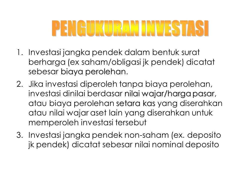 biaya perolehan 1.Investasi jangka pendek dalam bentuk surat berharga (ex saham/obligasi jk pendek) dicatat sebesar biaya perolehan. nilai wajar/harga
