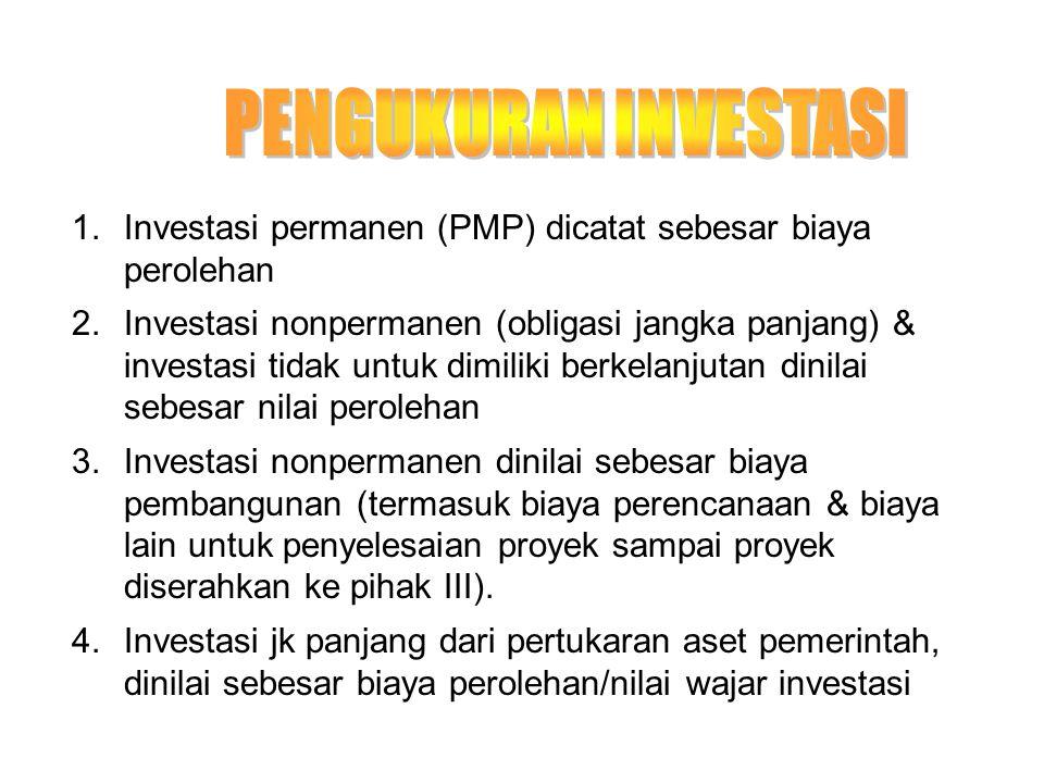 1.Investasi permanen (PMP) dicatat sebesar biaya perolehan 2.Investasi nonpermanen (obligasi jangka panjang) & investasi tidak untuk dimiliki berkelan