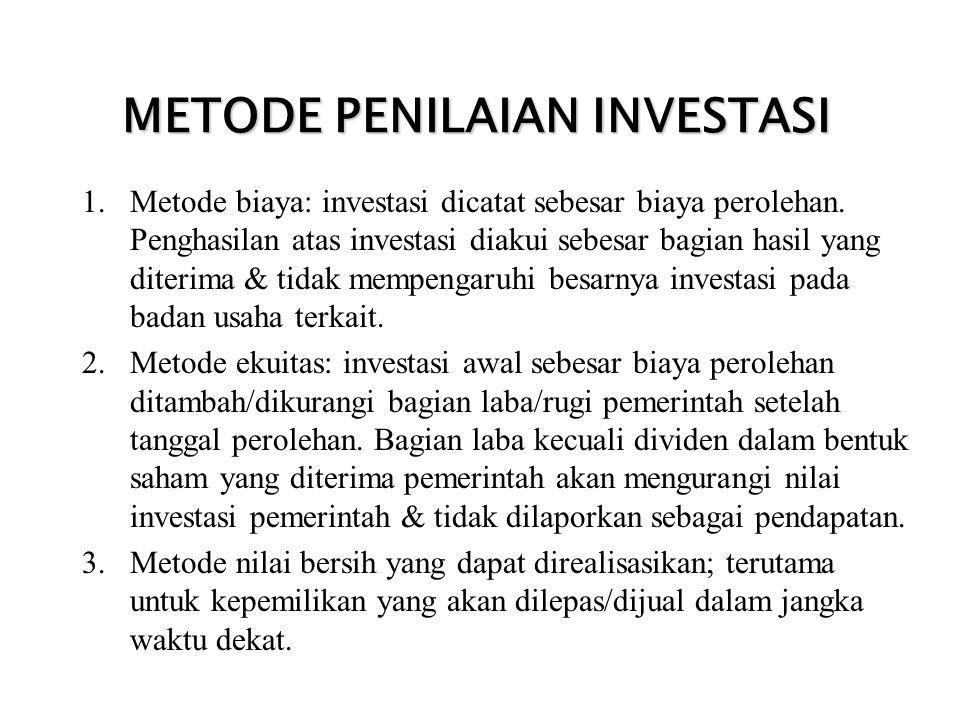 METODE PENILAIAN INVESTASI 1.Metode biaya: investasi dicatat sebesar biaya perolehan. Penghasilan atas investasi diakui sebesar bagian hasil yang dite