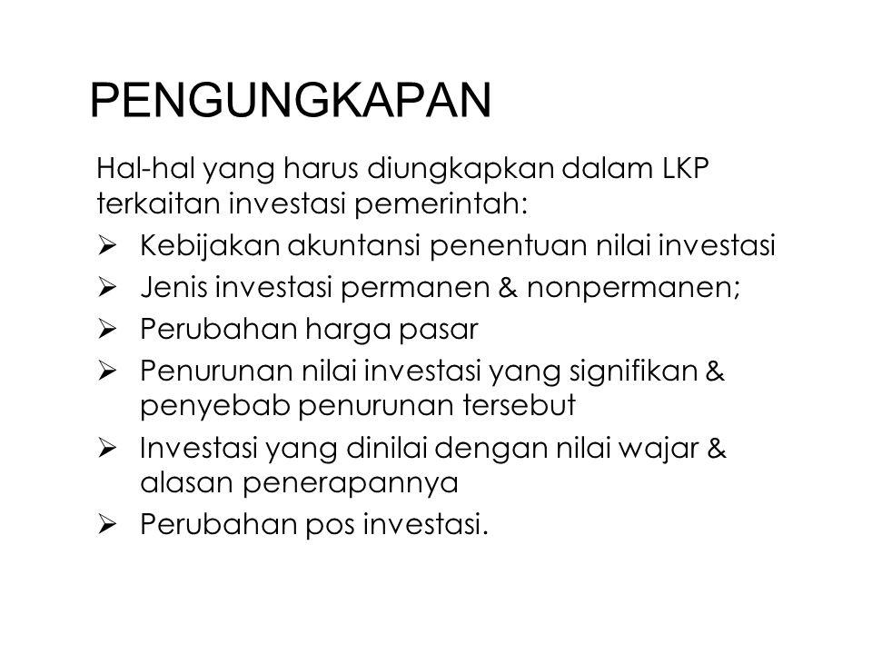 PENGUNGKAPAN Hal-hal yang harus diungkapkan dalam LKP terkaitan investasi pemerintah:  Kebijakan akuntansi penentuan nilai investasi  Jenis investas