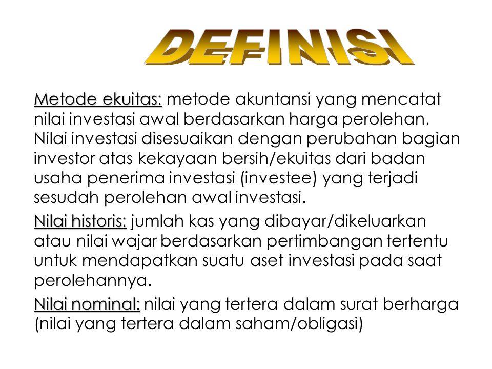 PENGAKUAN HASIL INVESTASI Hasil investasi dari investasi jk pendek berupa bunga deposito, bunga obligasi & deviden tunai (cash dividend) dicatat sebagai pendapatan.