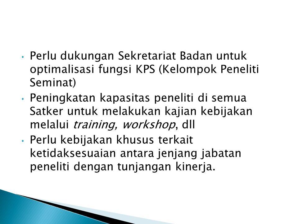 Perlu dukungan Sekretariat Badan untuk optimalisasi fungsi KPS (Kelompok Peneliti Seminat) Peningkatan kapasitas peneliti di semua Satker untuk melaku