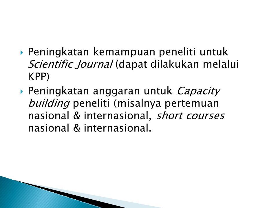  Peningkatan kemampuan peneliti untuk Scientific Journal (dapat dilakukan melalui KPP)  Peningkatan anggaran untuk Capacity building peneliti (misal